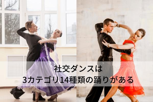 社交ダンスは3カテゴリ14種類の踊りがある